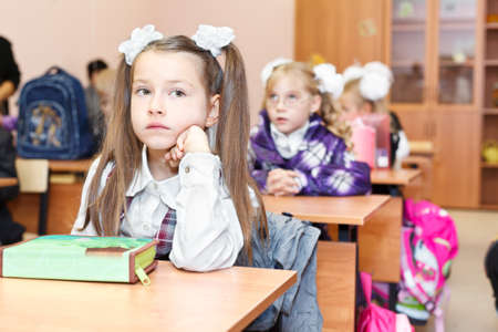 SAINT-PETERSBURG, RUSSIA - September 1: Karina Kravtsova, 7, from Vsevolozhsk, Russia first time in first class in school September 1, 2011in Saint-Petersburg, Russia. Stock Photo - 11063564