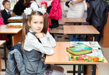 SAINT-PETERSBURG, RUSSIA - September 1: Karina Kravtsova, 7, from Vsevolozhsk, Russia first time in first class in school September 1, 2011in Saint-Petersburg, Russia. Stock Photo - 11063935