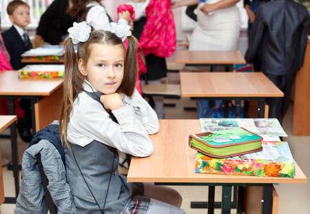 SAINT-PETERSBURG, RUSSIA - September 1: Karina Kravtsova, 7, from Vsevolozhsk, Russia first time in first class in school September 1, 2011in Saint-Petersburg, Russia. Stock Photo - 11063935