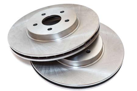 frenos: Freno de dos nuevos discos aislada sobre fondo blanco Foto de archivo