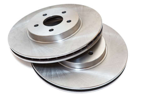 New two brake discs isolated on white background photo