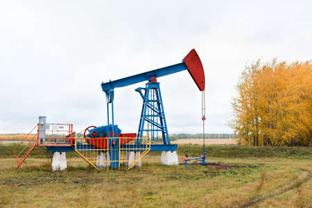One pump jacks on a oil field. Autumn photo