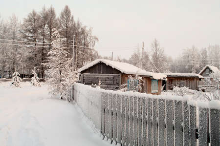 Winter season in Russian village. Snow covered buildings and trees photo