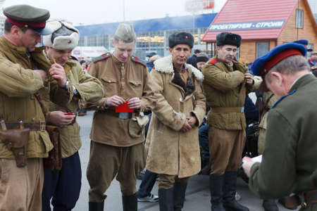 awarded: SAINT-PETERSBURG, RUSSIA - NOVEMBER 4: Military performance in celebration of National Unity Day. Soviet soldiers awarded the medals on November 4, 2011 in Saint-Petersburg, Russia.