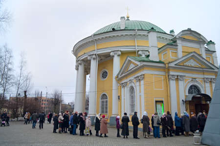 worshiper:  SAINT-PETERSBURG, RUSSIA - APRIL 12: Queue from old people in the church in Easter Sunday on April 12, 2011 in Saint-Petersburg, Russia.