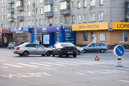 suffered: LIPETSK, RUSSIA - SEPTEMBER 19: Car accident on the road, two vehicles collided on September 19, 2011 in Lipetsk, Russia.