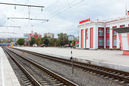 MAGNITOGORSK, RUSSIA - SEPTEMBER 27: Railway station from train platform side in the city on September 27, 2011 in Magnitogorsk, Russia. Stock Photo - 12690559