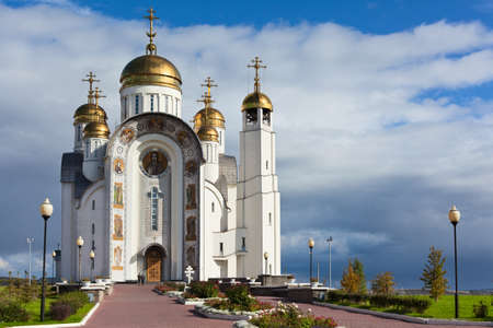 chelyabinsk: MAGNITOGORSK, RUSSIA - SEPTEMBER 27: Orthodox Church of the Ascension of the Christ on September 27, 2011 in Magnitogorsk, Russia.