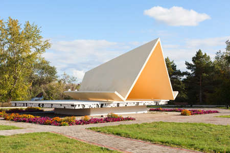 tent city: MAGNITOGORSK, RUSSIA - SEPTEMBER 27: Monument The first tent in the city on September 27, 2011 in Magnitogorsk, Russia.