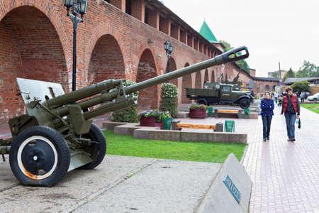 NIZHNY NOVGOROD, RUSSIA - SEPTEMBER 24: Exhibition of Soviet military equipment in the Kremlin on September 24, 2011 in Nizhny Novgorod, Russia.