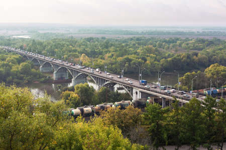 klyazma:   VLADIMIR CITY, RUSSIA - SEPTEMBER 24: Bridge across the river Klyazma on September 24, 2011 in Vladimir city, Russia.