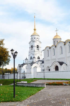 cupolas: VLADIMIR CITY, RUSSIA - SEPTEMBER 24: Cathedral of the Dormition of the Theotokos in Vladimir city, Russia on September 24, 2011 in Vladimir city, Russia.