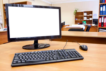 Modern personal computer on desktop in office room Stock Photo - 12435491