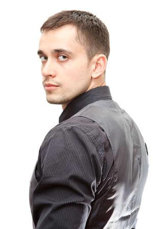 Portret van jonge vertrouwen zakenman zich om te draaien op een witte achtergrond Stockfoto