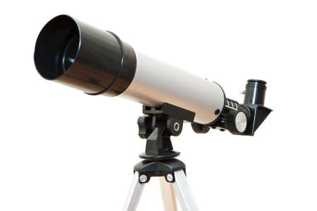 Telescope device isolated on white background photo