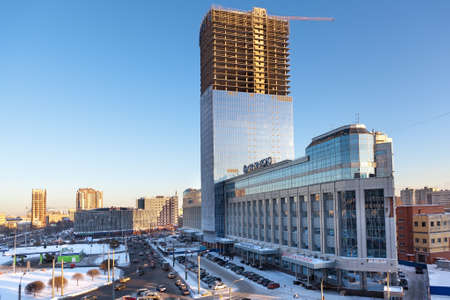 metall and glass: SAINT-PETERSBURG, RUSSIA - FEBRUARY 9: High-rise building a business office center Tower under construction, on February 9, 2012 in Saint-Petersburg, Russia. Editorial