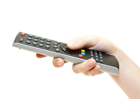 Female hand with remote control isolated on white background photo