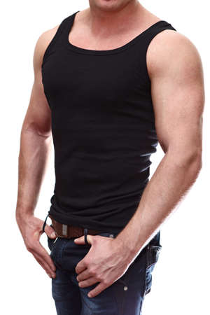 One handsome Caucasian muscular man in black t-shirt isolated on white background  photo