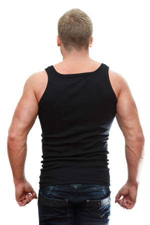 One handsome Caucasian man in black t-shirt with neck pain isolated on white background  Rear view photo