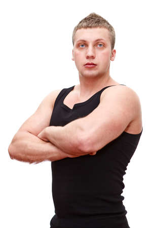 One handsome Caucasian musculan man in black t-shirt with clasped hands on breast isolated on white background photo