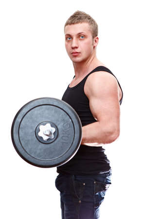 One handsome Caucasian musculan man in black t-shirt with barbell in hands isolated on white background photo