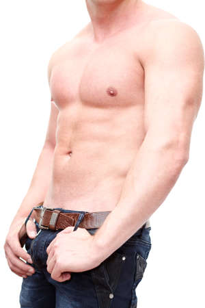 One handsome Caucasian muscular man with naked torso isolated on white background  Stock Photo