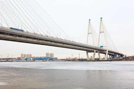 bridgework: Obukhovsky bridge across Neva river in Saint-Petersburg, Russia