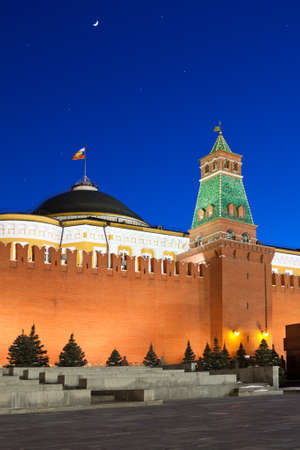 MOSCOW, RUSSIA - MARCH 27:  Wall of Spasskaya Tower and mausoleum of Moscow Kremlin at Red Square in night, on March 27, 2012 in Moscow, Russia.