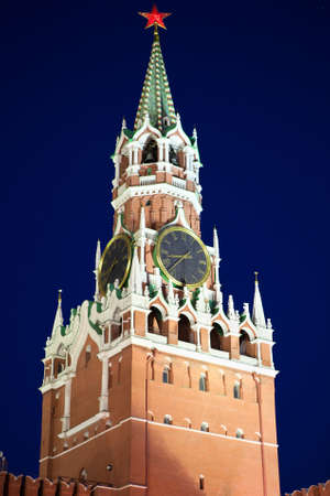 MOSCOW, RUSSIA - MARCH 27:  Spasskaya Tower of Moscow Kremlin at Red Square in night, on March 27, 2012 in Moscow, Russia.