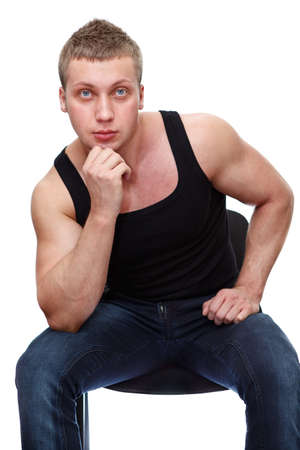 One handsome Caucasian musculan man in black t-shirt isolated on white background Stock Photo - 13143385