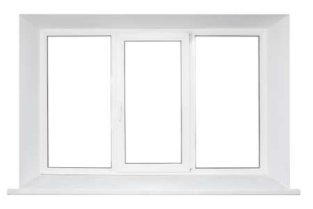 triplex: White plastic triple door window isolated on white background  Stock Photo
