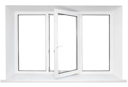 White plastic triple door window isolated on white background  Opened door Stock Photo