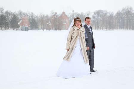 lejos: Recién casados ??tomados de la mano en el área del lago de congelación en invierno Foto de archivo