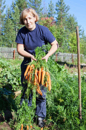Mature woman in garden with bunch of carrot photo