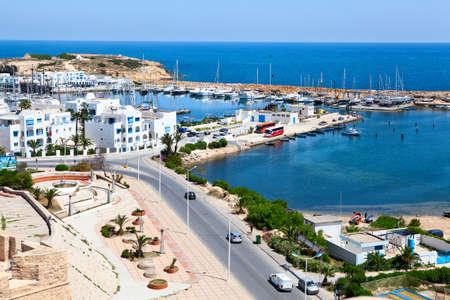 Sea bay and embankment in the city of Monastir, the Mediterranean Sea, Tunisia  Wide angle photo
