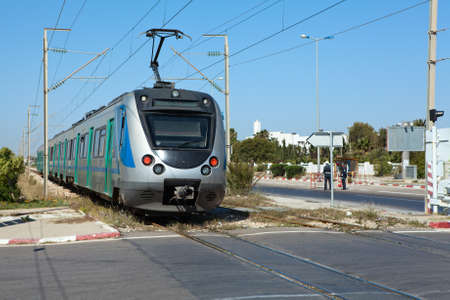 MONASTIR, TUNISIA - CIRCA MAY, 2012: Intercity electric speed train in Monastir airport station, on circa May, 2012 in Monastir, Tunisia. Stock Photo - 15583643