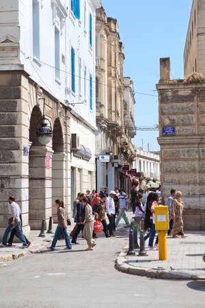 TUNIS, TUNISIA - CIRCA MAY, 2012: People Tunisians on the streets. Habib Bourguiba avenue, on circa May, 2012 in Tunis, Tunisia. Stock Photo - 14998481