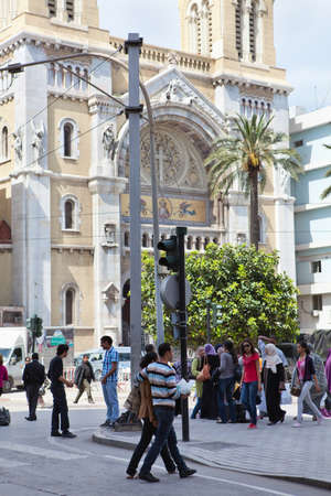 TUNIS, TUNISIA - CIRCA MAY, 2012: People Tunisians on the streets. Habib Bourguiba avenue, on circa May, 2012 in Tunis, Tunisia. Stock Photo - 14998477