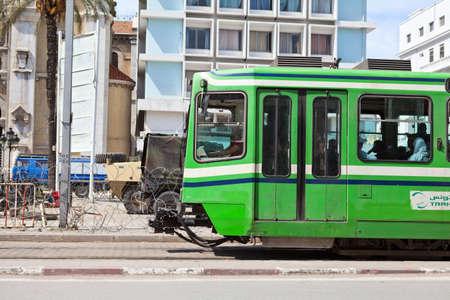 TUNIS, TUNISIA - CIRCA MAY, 2012: City tramway in the streets, on circa May, 2012 in Tunis, Tunisia. Stock Photo - 14998472