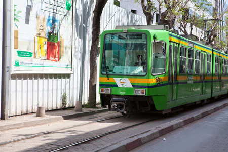 TUNIS, TUNISIA - CIRCA MAY, 2012: City tramway in the streets, on circa May, 2012 in Tunis, Tunisia.