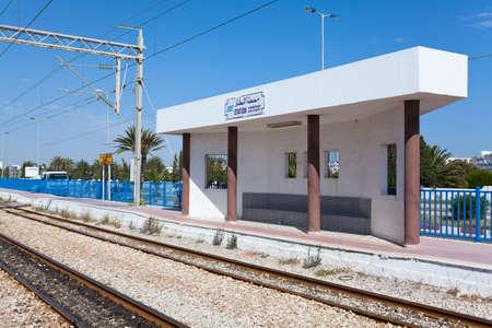 MONASTIR, TUNISIA - CIRCA MAY, 2012: Intercity train railway station Habib Bourguiba Airport, on circa May, 2012 in Monastir, Tunisia. Stock Photo - 14685714