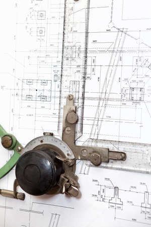 drafting: Ruler instrument of panel board on engineering blueprint  Close up Stock Photo