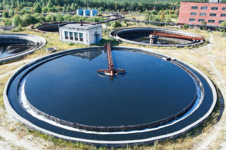 Top view on round form water treatment primary radial settler  Stock Photo - 15180668