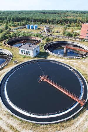 sedimentation: Huge circular sedimentation tank  Water settling, purification in the water station
