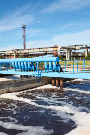 oxigen: Oxigen aeration of wastewater in sewage treatment plant Stock Photo