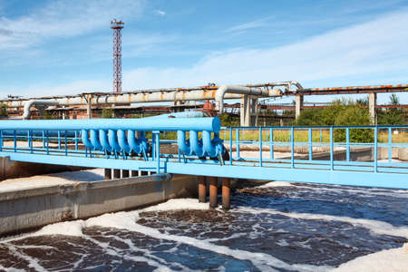 sewer water: Aeration of wastewater in sewage treatment plant Stock Photo