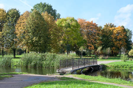Old footbridge across pond in the autumn park Stock Photo - 15857066