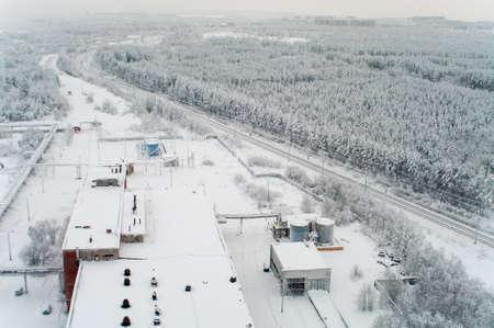 polar station: Winter season with railroad