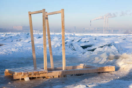 obody: Wooden handrail for swimming in ice hole water for the Baptism in Saint-Petersburg, Russia