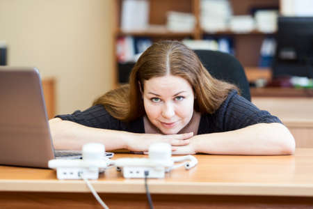 Executive business woman waiting telephone calls in office Stock Photo - 18426498